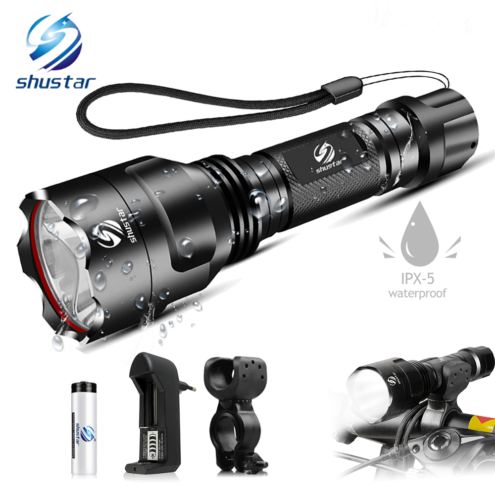 Powerful LED Bicycle Light Waterproof 5 Lighting Modes Bike Light Suitable For Night Riding Powered By 18650 Battery