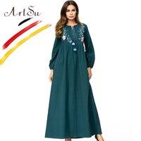 ArtSu Autumn Spring Long Sleeve Maxi Dress Women Vintage Tassel Floral Embroidery Ethnic Dress Green A Line Jurken Plus Size