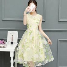 2017 Summer New Fashion Women Clothing Korean Style Sleeveless Organza Dress  A-line Empire Printing Zipper Long Dresses Female 4aecc6c31c54
