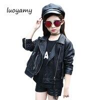 luoyamy 2017 Autumn Winter Style Girls PU Faux Leather Clothes Kids Tassel Coat Feminine Children's Zipper Jackets