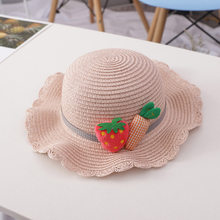 Hat Bag Set Wavy Straw Hats Strawberry Radish Cap Single Shoulder Bag for Kids Spring Summer Beach YA88(China)