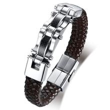 LOOKER Unique Carbon Fiber Leather Bracelets for Men Black Braided Gold Tone Stainless Steel Pulsera Masculina