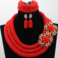 Fantastic Bright Red Nigerian Wedding African Beads Jewelry Set Tomato Red Crystal Statement Necklace Set for Women 2017 WD117