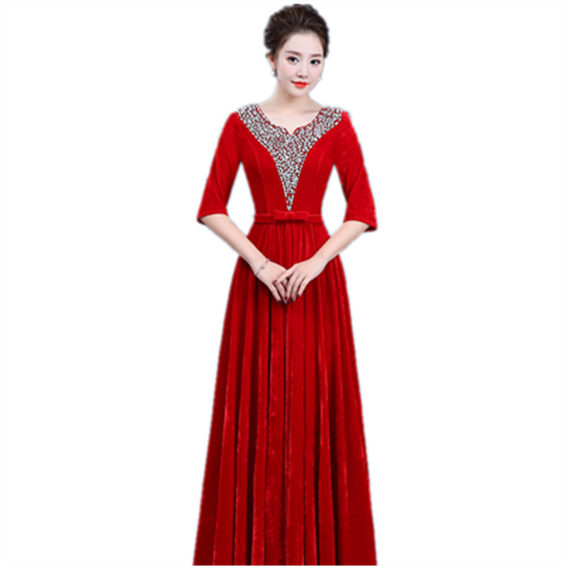 Image 5 - Gold velvet chorus dress costume female dress new adult Slim middle aged choir command service-in Chinese Folk Dance from Novelty & Special Use
