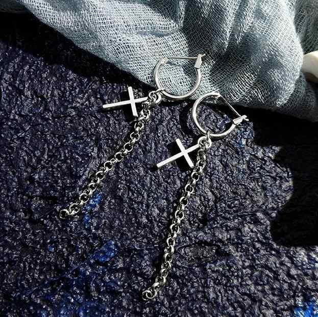 Ex861 européen Vintage punk personnalité style croix gland chaîne article pendentif boucles d'oreilles femme bijoux accessoires