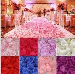 Оптовая продажа, Свадебные лепестки роз, 1000 шт./лот, декоративные цветы, полиэстер, свадебная Роза, новая мода 2018, искусственные