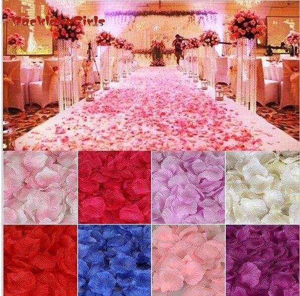 Gros mariage pétales de Rose 1000 pcs/lot décorations fleurs Polyester mariage Rose nouvelle mode 2018 artificiel