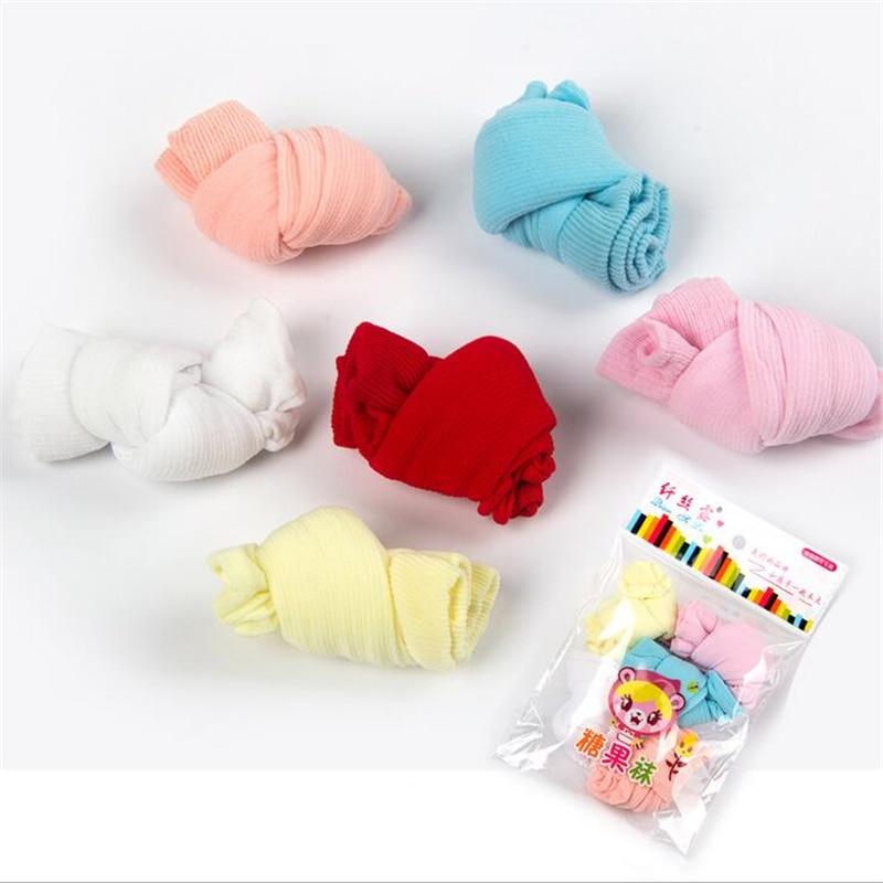 10 vienetų / partija = 5 poros naujagimio plonas elastingas kojines mergaitėms berniukams minkštas saldainių spalvos kojines kūdikiams mielas kojines 0-3 metų