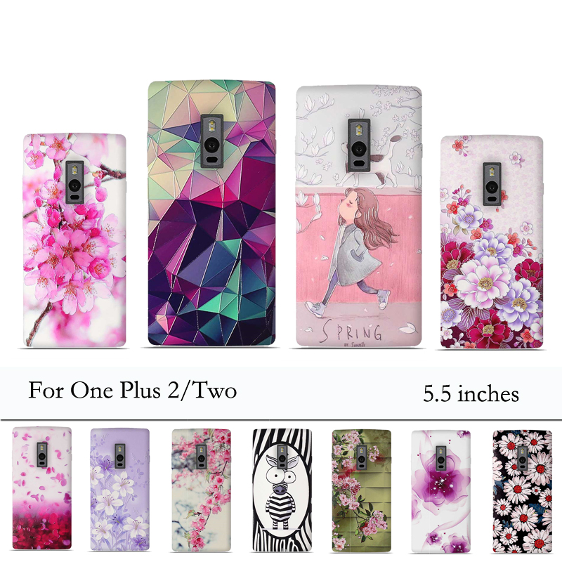 Case For One Plus 2 Oneplus 2 Case Cover 3D Relief Painting Coque Luxury Back Cover for One Plus Two 2 Case Cases Silicon Fundas