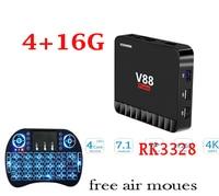 1pcs SCISHION V88 Piano Option Air Mouse 4 16G Smart Android 7 1 TV Box RK3328