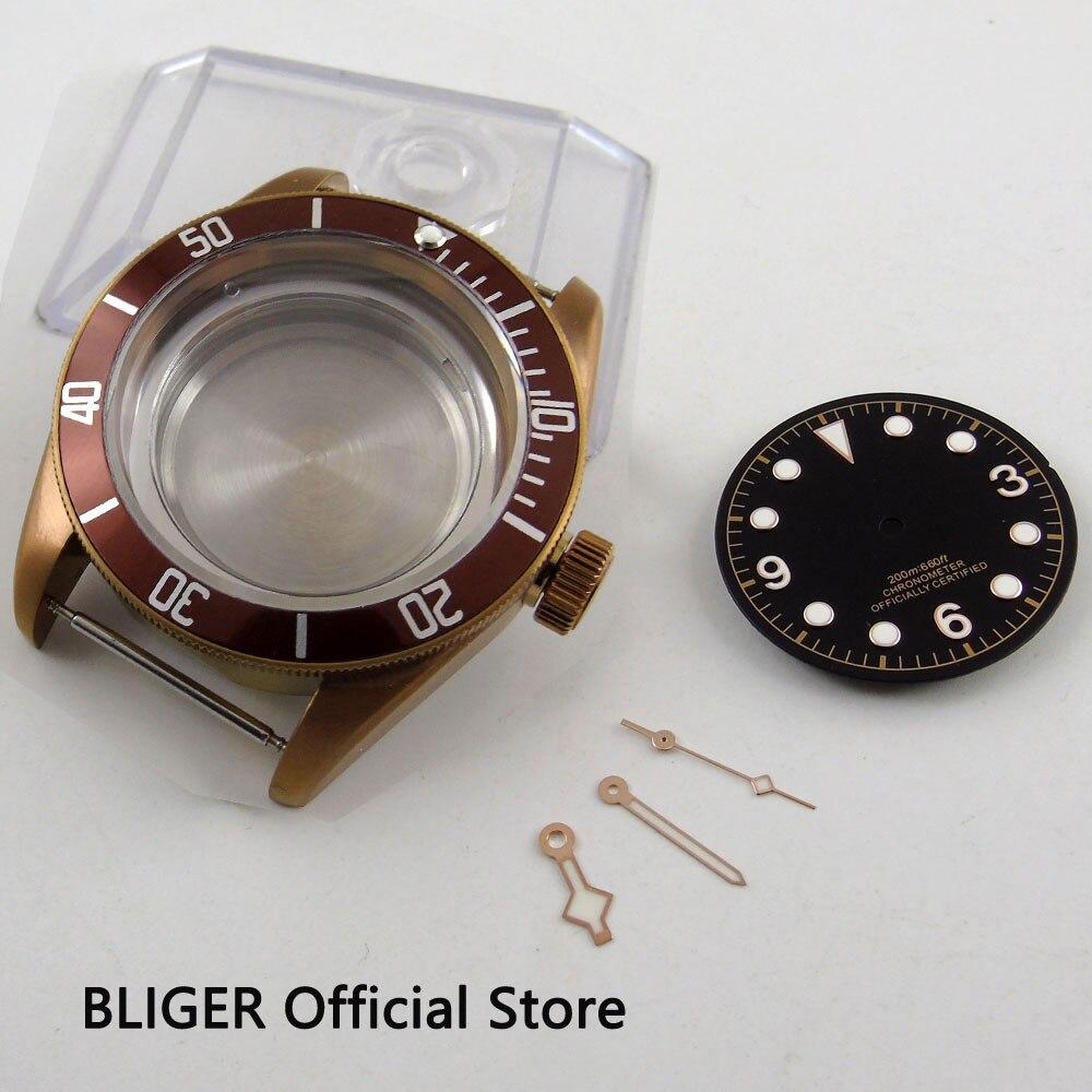 BLIGER 41MM Copper Stainless Steel Watch Case Ceramic Bezel Sapphire Luminous Marks Dial+Hands Fit ETA 2824/2836 Movement C102 playtoday перчатки для мальчика playtoday
