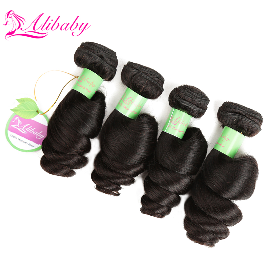 Alibaby Malaysian Hair Bundles Natural Color Loose Wave Bundles Non Remy 100% Human Hair Weave Hair 4pcs/Lot Hair Extensions