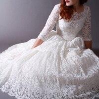 Trouwjurk 2016 Vintage 50s Poland Style Scoop Neck Tree Quarter Tea Length Lace Classical Wedding Dresses