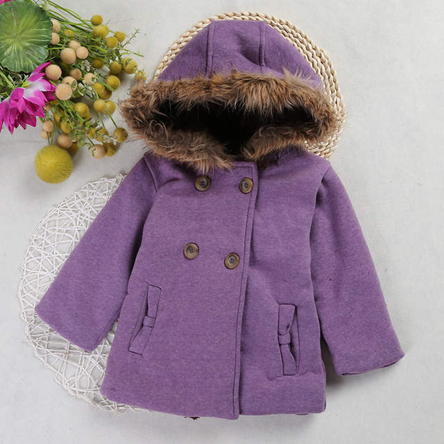 37db9f327 Online Shop Baby Girls Fall Winter Horn Button Hooded Coat Warm Wool ...