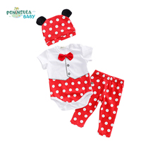 3Pcs Set New Baby Clothes Set Unisex Bow Tie Baby Romper Hat Pant Children Cartoon Polka