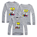 New 2016 I Love My Family Printed Family Clothing Cotton Women Men Children T Shirt Children's Clothing Family Matching Outfits