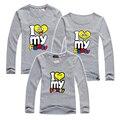 Nuevo 2016 Amo a Mi Familia Familia Impresa Ropa de Algodón Mujeres Hombres Niños Camiseta Ropa de Los Niños de La Familia A Juego trajes