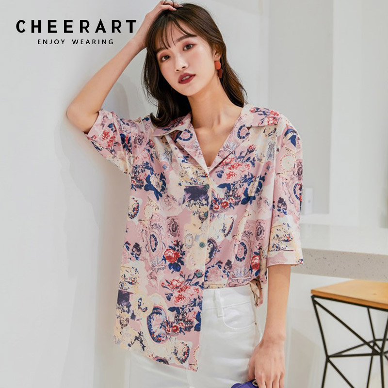 84a2c5010c157 Cheerart Floral Pink Blouse Lapel Half Sleeve Blouse Women Print Top Summer  Button Up Shirt Holiday