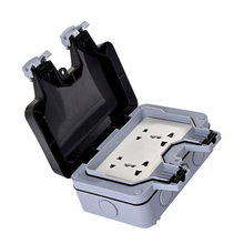 цена на Waterproof Dustproof Wall Switch Socket Two Multi-function Six Hole Double Socket Suitable For UK/EU/AU/US Plug Socket Outdoor