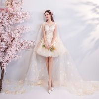 Princess Prom Dresses Lace Champagne Short Ball Gown with Chapel Wrap Floral Beaded Sequined Sleeveless Evening Gowns Birthday
