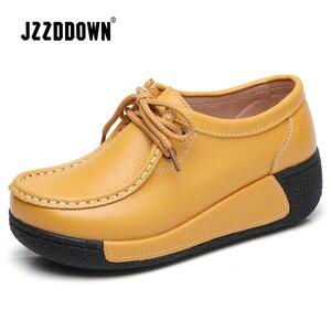 Image 2 - JZZDDOWN אמיתי עור נעלי אישה פלטפורמת תחרה עד נשים סניקרס פלטפורמה מקרית נעלי יוקרה נעלי נשים נשיות