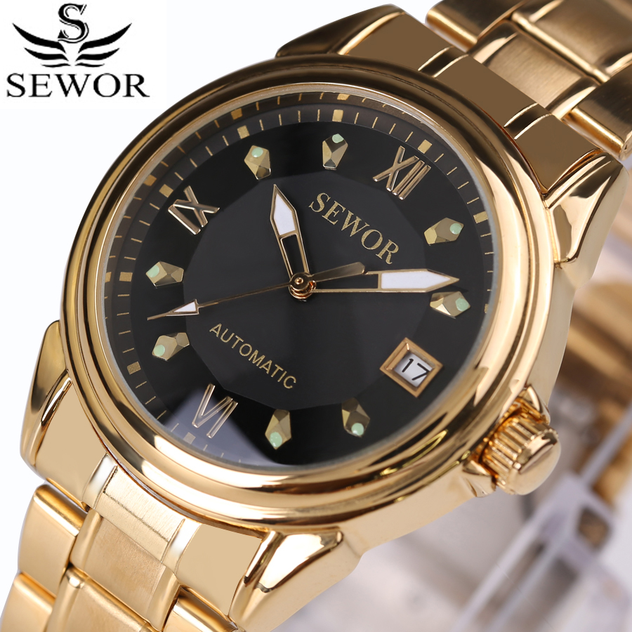 SEWOR Top Brands Luxury Man Watch Big Dial Wrist Watch Golden Watches Men Skeleton Mechanical Watch Stainless Steel Montre Homme
