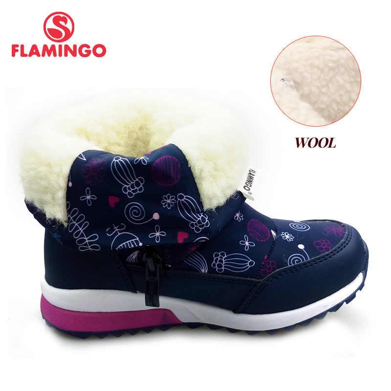 Зимняя противоскользящая водонепроницаемая обувь с изображением фламинго; Высококачественная шерстяная теплая обувь; Размеры 25-30; детские зимние ботинки; Бесплатная доставка; 82D-NQ-1030