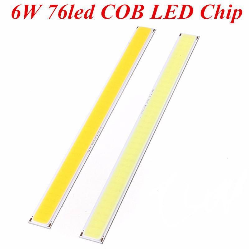 COB 6W 76 LED Chip Strip Bar Light Lamp Bulb For DIY Car Auto Light Source DRL Lamp Pure Warm White Lighting DC12V 520Lume