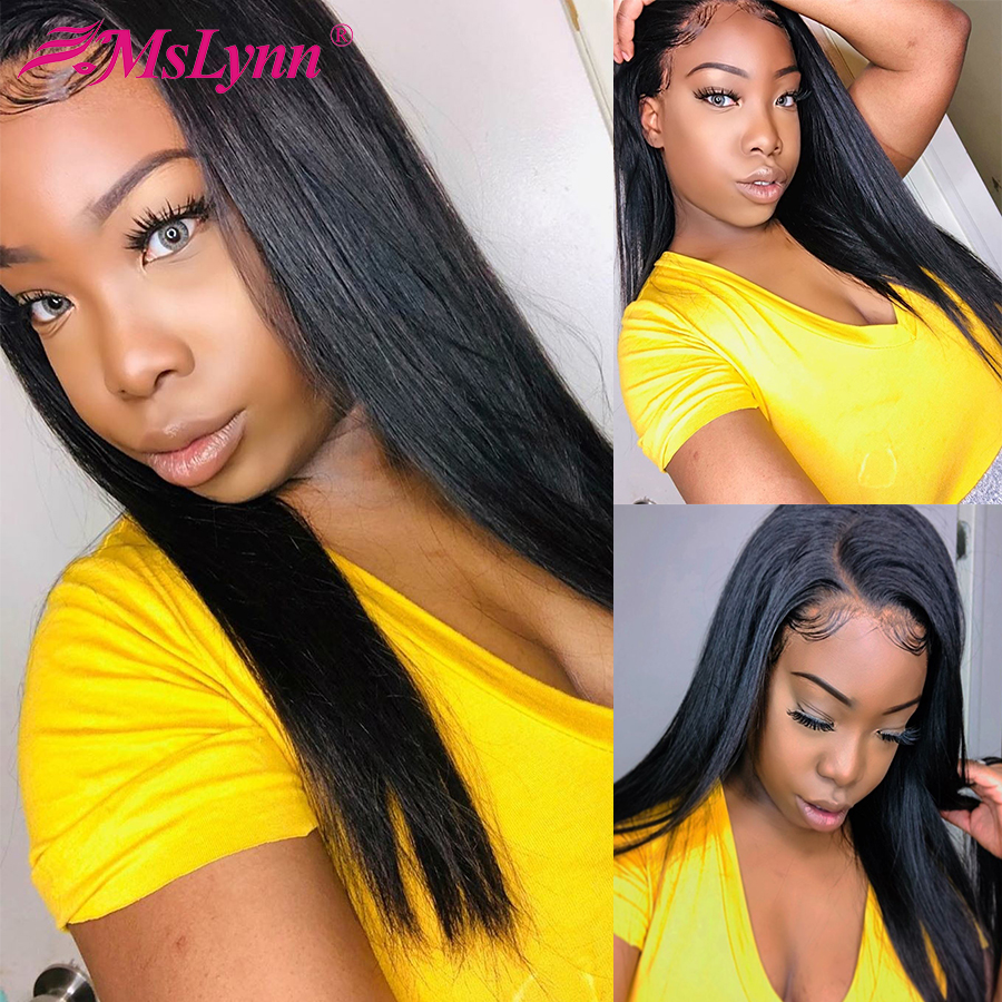Mslynn Lace Frontal Human Hair Wigs For Black Women Brazilian T Part Wig Straight I - Shape Wig Pre Plucked With Baby Remy Hair
