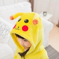 Photography Kid Boys Girls Party Clothes Pijamas Flannel Pajamas Child Pyjamas Hooded Sleepwear Cartoon Animal Pikachu