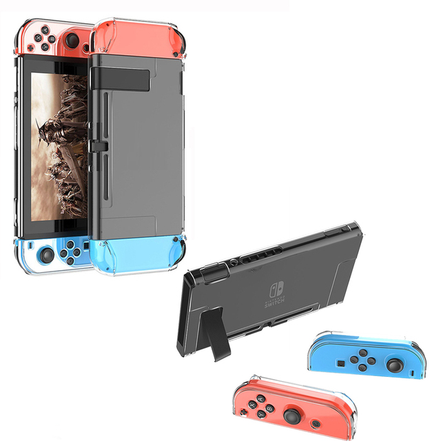 6 in 1 Kit Carrying Bag Storage Box Hard Case for Nintend Switch Console NS&Glass Screen Protector&Crystal Shell&2 Analog Caps  4