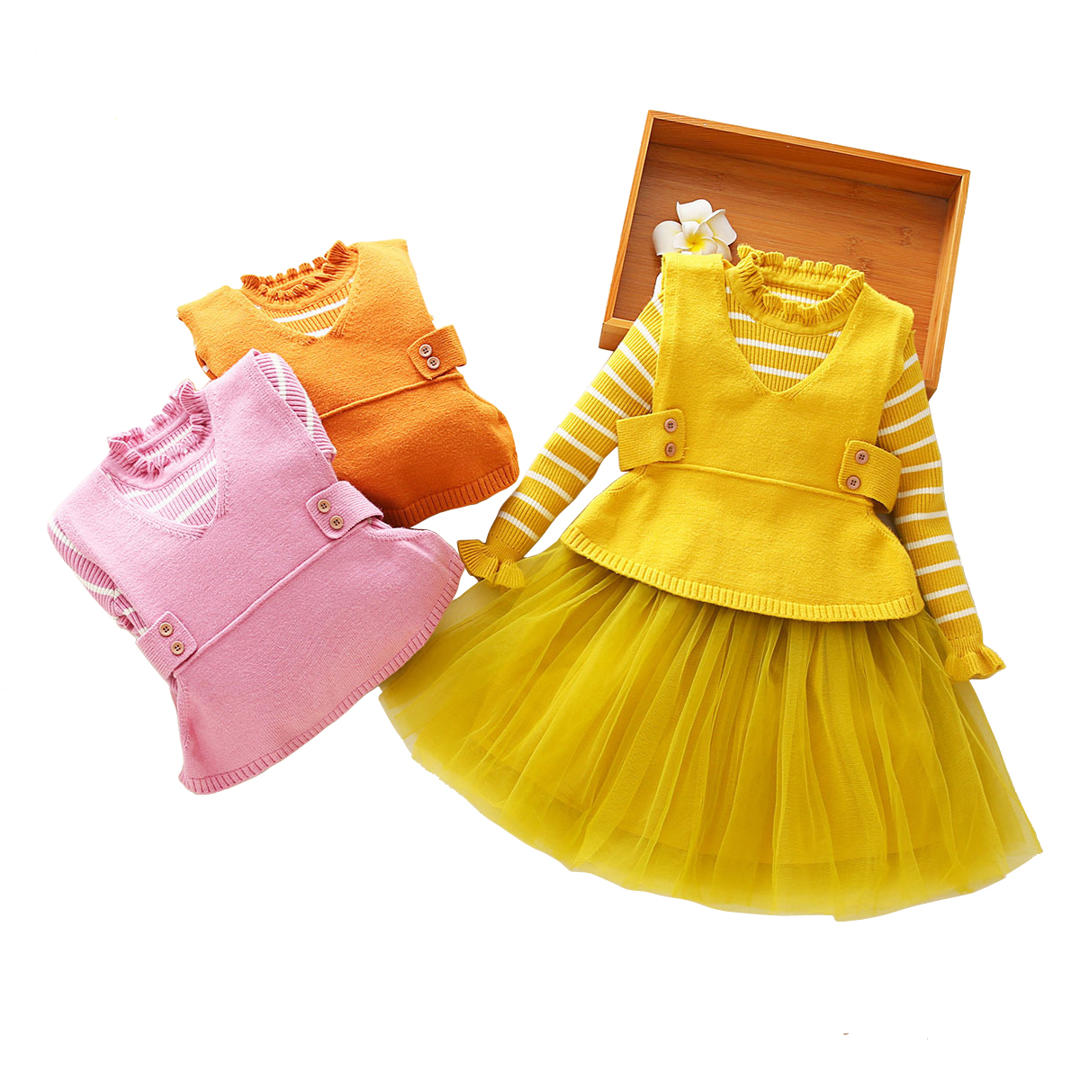 stripe party frocks for little girl spring thick warm knit tulle 2pcs set dresses  age 3-12 yrs baby girls long-sleeve dress+vest 81a29ea35b17