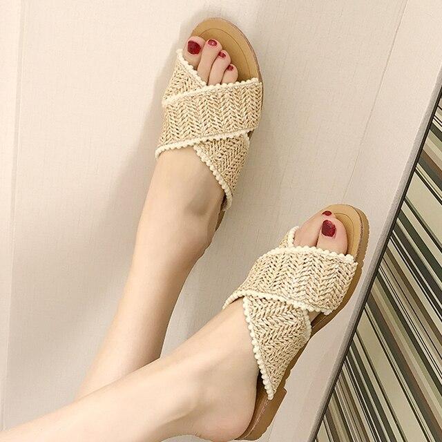 2019 tissage pantoufles femmes chaussures d'été femme décontracté dames plat maison pantoufle glisse femmes tongs pantufa buty damskie 5
