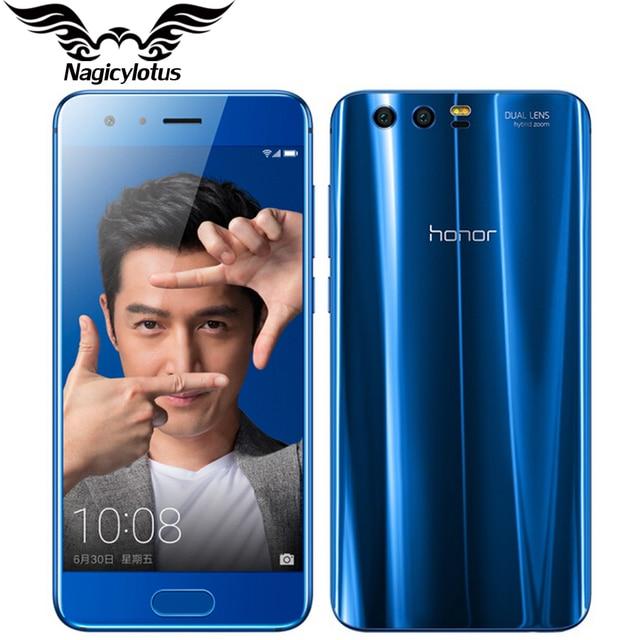 Оригинальный Huawei Honor 9 4 г LTE мобильный телефон 5.15 дюйма KIRIN 960 Octa core 4 ГБ ОЗУ 64 ГБ ROM 1920*1080 двойной камеры заднего вида NFC телефон