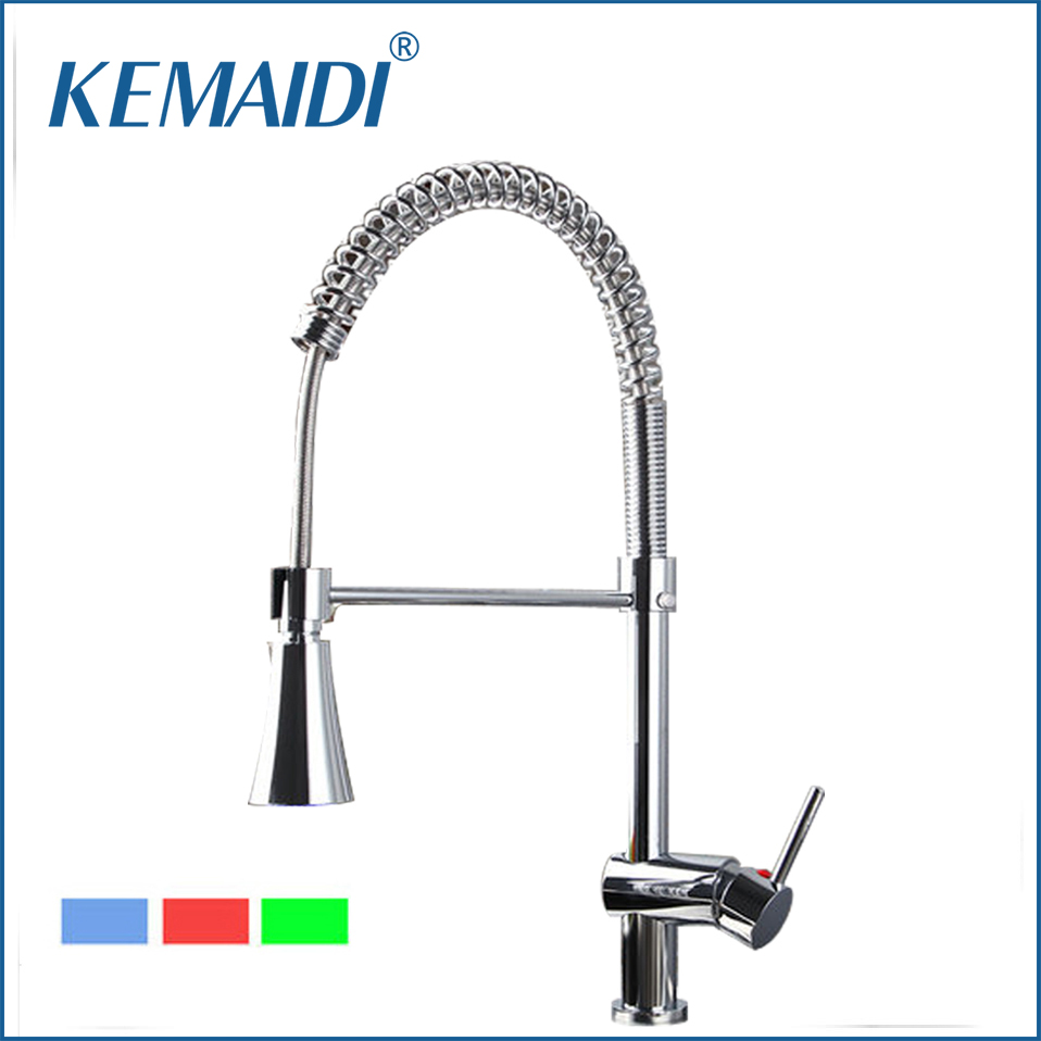 KEMAIDI Kitchen Faucets Torneira No Need Batteries LED Light Swivel Chrome 8085/7 Basin Sink Water Tap Vessel Faucets,Mixer Taps 360 rotating black led light tap bathroom kitchen faucets brass chrome swivel sink temperature sensor color led mixer tap