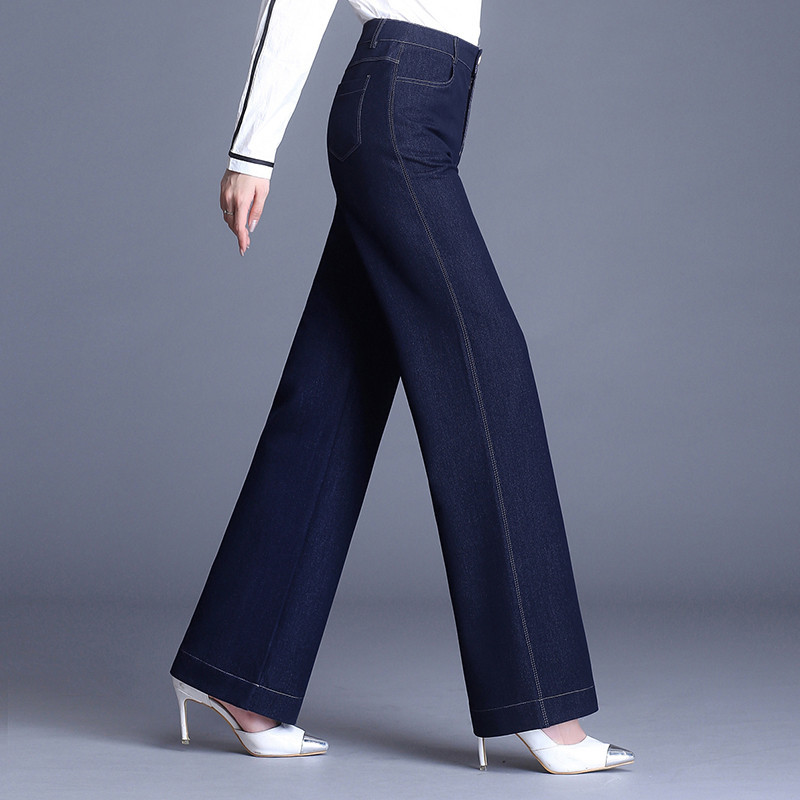 2018 New Women's Straight Simple Style Solid Pure Color Long Length Black High Waist Dark Blue Plus Big Size Stretch   Jeans   6XL