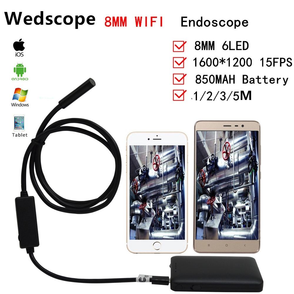 Wedscope Wifi Endoscope Android PC USB Inspection Camera 8 MM 2.0MP HD 720P Borescope Inspection Video Cam 6 Adjustable LED 7mm lens mini usb android endoscope camera waterproof snake tube 2m inspection micro usb borescope android phone endoskop camera