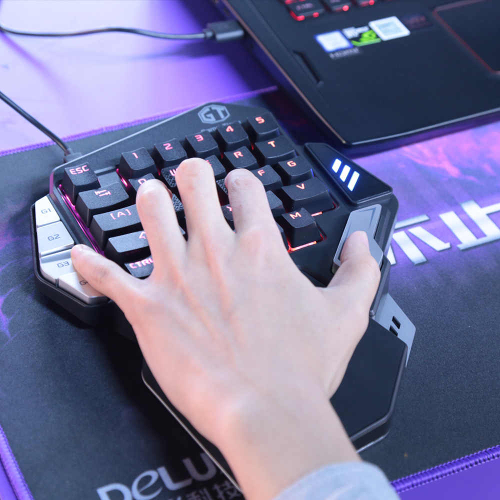 6711ccfca92 ... Delux Single-handed Mechanical Gaming Keypad Ergonomic All Keys  rollover programmable RGB Mini keyboards for