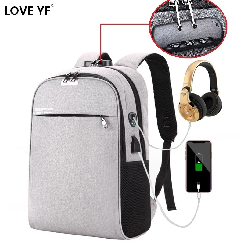 Anti-theft Password Lock Backpack Bag Waterproof Laptop Backpack  With USB Smart Backpack Largecapacity Tourist Student Bag