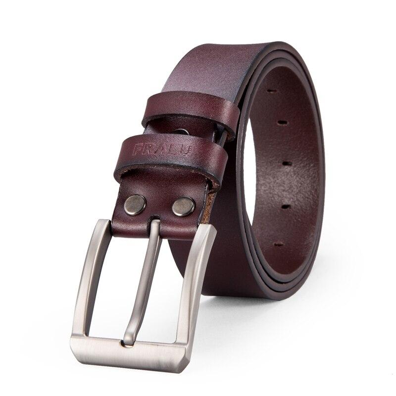 FRALU Mannen hoge kwaliteit lederen riem luxe designer riemen retro koeienhuid mode Riem mannelijke Jeans voor man cowboy gratis