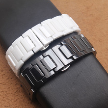 14mm 16mm 18mm 20mm bracelet Black  white ceramic female butterfly buckle Replacement for diamond watch Gear s2 bands
