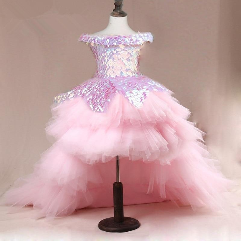 Flower Girl Dress Children Wedding Bridemaid Mermaid Dresses Kids Pink Tutu Sequin Gowns Girl Boutique Party Wear Elegant Frocks 1