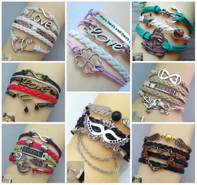 "Hot Sale Popular fashion unique ""LOVE notes"" mask rose lovely charm bracelet a variety of style leather bracelet"