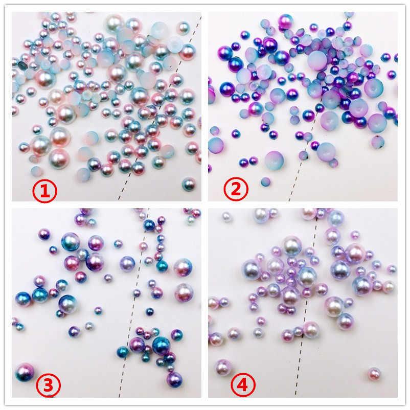 100 шт./упак. Япония Корея сплав для маникюра искусство 3D Круглый полукруг смешанные цвета жемчужные металлические аксессуары для фототерапии наклейки для ногтей DIY