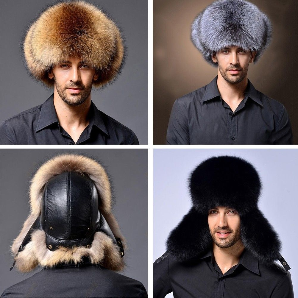 Hats Russian Raccoon-Fur Hunter Trapper Men Lamb Bommer Men's Mnes
