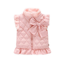Autumn Winter Baby Girls Bow Stand-collar Zipper Thick Cashmere Warm Vests Kids Cartoon Funny Girls Sleeveless Jackets/overcoats