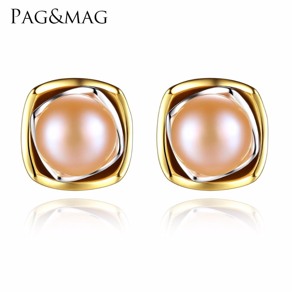 PAG & MAG prekės ženklo klasikinis 925 sidabro baltas / rožinis perlas galvos auskarai moterims mados papuošalams FE0091