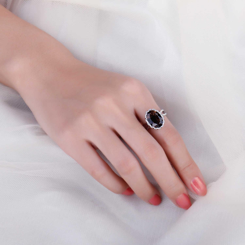 JewelryPalace ขนาดใหญ่ของแท้ Smoky ควอตซ์แหวน 925 เงินสเตอร์ลิงแหวนแหวนหมั้นแหวนเงิน 925 เครื่องประดับอัญมณี