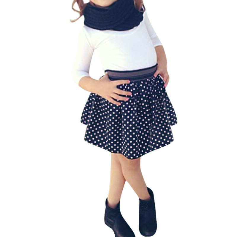 12f5641ed6 2PCS Baby Girls Dress Long Sleeve T shirt + Polka Dot Skirt Set Kids  Outfits For Winter 2 7 Baby Kids Girl fun-in Clothing Sets from Mother &  Kids on ...