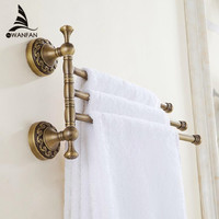 European Copper Gold Towel Rack Toilet Towel Bar Bathroom Antique Rotate Towel Bar Antique Activities Towel 3 Bar F91381